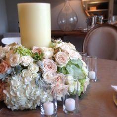 Prototype meeting success! Events by Jackson Durham #jacksondurham #centerpiece #candles #hydrangea #blushroses #wedding #weddingflowers #floral #flowers #floraldesign #events #eventdesign