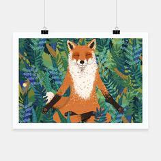 Fox Yoga Poster, Live Heroes
