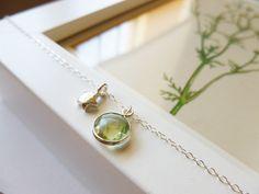 Green Amethyst Necklace - Green Amethyst and Sterling Silver Necklace, Zara February Birthstone by PoppyandGwyn on Etsy