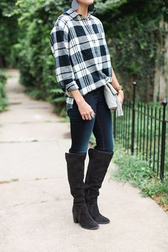 Leather earrings, aviators, anniversary sale, over the knee boots, plaid, skinny jeans, outfit idea for fall