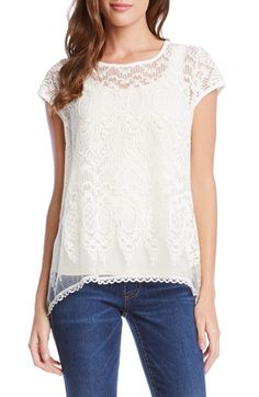 Karen Kane Flared Lace Top available at #Nordstrom