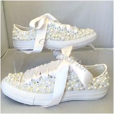 Lujo todo blanco Converse bengalas perla / blanco todo sobre