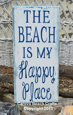 I Love Beautiful Beaches: The Beach Is My Happy Place, Beach Decor, Wood Sign, Hand Painted, Distressed, White and Navy Blue, Beach Wood Sign, Coastal, Nautical
