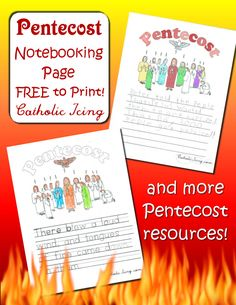 A free printable Pentecost notebooking page, plus Pentecost songs, crafts, recipes, and more. This site has so many free Bible notebooking pages!