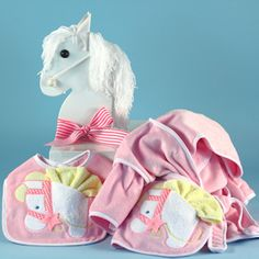 Baby girls poodle layette gifts set with unique rocking horse personalized baby gift in rocking horse gift box negle Image collections