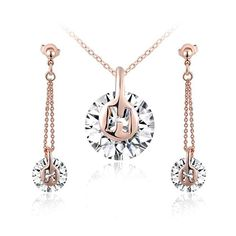 ROXI 2-piece Jewelry Set Simplicity Charming AAA Zircon H Letter Gold-plated Necklace + Drop Earrings.