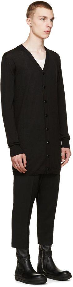 Rick Owens Black Wool Long Cardigan