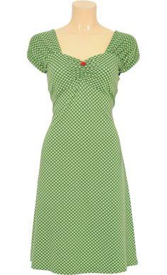 Vintage Inspired Autumn   ▫   Heidi Dress Bardot - Jungle Green White Squares   ▫   King Louie AW14
