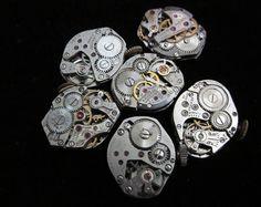 6 Vintage Watch Movements Parts Steampunk by amystevensoriginals