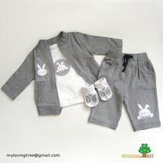 Personalized bunny rabbit newborn infant zippered jacket/pants/onesie/shoe socks gift set - coming home outfit for baby boy $54