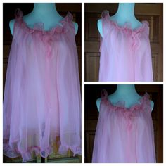 Vintage 60s Babydoll Nightgown Pink Nightie by caligodessvintage