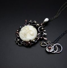 Luna  Goddess Moon  Mixed Metal Pendant with Fine by SkyAndBeyond