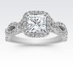 Infinity Halo Diamond Engagement Ring in 14k White Gold with Princess Cut Diamond