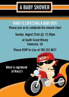 Motorcycle Baby - Baby Shower Invitations