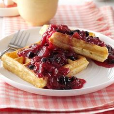 Blueberry/Rhubarb Breakfast Sauce Recipe from Taste of Home -- shared by Rita Wagenmann of Grangeville, Idaho