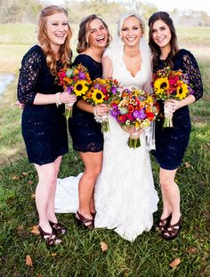 Navy Bridesmaid Dresses With Sleeves | Heartstrings - A Flower Boutique | Moments of Grace Photography
