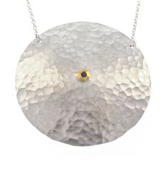 David Tishbi Large Silver Hammered Disc Necklace - 40MM Sterling Silver with White Diamond in Gold Bezel Hammered large Disc Necklace