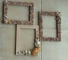 #DIY #Rámeček #mušle #výrobek #lepení #krab #perly #tři