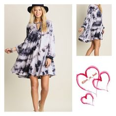 Grey/Black A-Line Dress S,M,L Tie Dye is the Key A-Line Dress *Strut your stuff in this dress and don't be alarmed if a lot of people ask you where you got your dress from..  Material is a Cotton Blend Dresses Midi