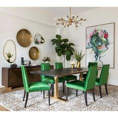 Looking for modern living room ideas with furniture and decor? Explore our beautiful living room ideas for interior design inspiration. Green Dining Room, Dining Room Colors, Dining Room Design, Dining Room Art, Eclectic Dining Rooms, Design Table, Green Rooms, Chair Design, Dyi