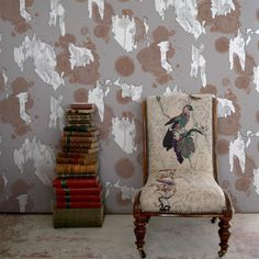 *NEW DESIGN* Archaeopaper Rips Superwide Wallpaper is now available to purchase online as a sample or by the roll. Timorous Beasties, Stack Of Books, Room Chairs, Designer Wallpaper, News Design, Wallpaper Decor, Interior Design, Instagram Posts, Photo Shoot