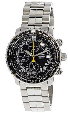 Shop for Seiko Men's Aviation Goldtone Chronograph Watch. Get free delivery On EVERYTHING* Overstock - Your Online Watches Store! Simple Watches, Cool Watches, Wrist Watches, Sport Watches, Nato Strap, Online Watch Store, Seiko Watches, Sunderland, Luxury Watches For Men