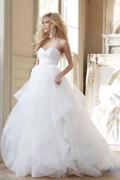 court train sweetheart a-line empire low back satin,organza wedding dress - Wegodress.com