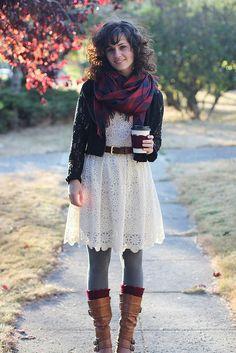 Gray tights help take a lace dress into fall | Delightfully Tacky