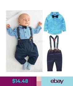 Boys 2Pcs Baby Boy Tie Plaid T-Shirt Top+Bib Pants Overalls Outfit Clothes.  BambiniAbiti Per Bambini PiccoliVestiti Di ... b3b97f412a9