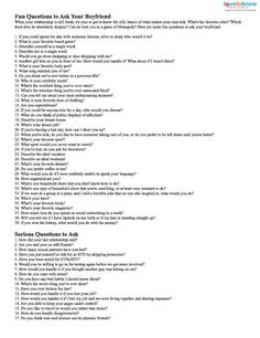 20 questions for your boyfriend
