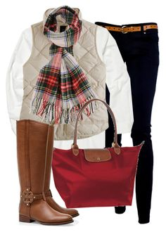 OOTD by classically-preppy on Polyvore featuring Polo Ralph Lauren, J.Crew, Tory Burch, Longchamp, Forever 21, riding boots, black skinny jeans, plaid scarf, scarf prints and cute