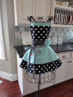 "Retro Women's Full Apron -4Retro Sisters ""Annabelle Style - Soft Tiffany Blue- Retro Modern: WANT"