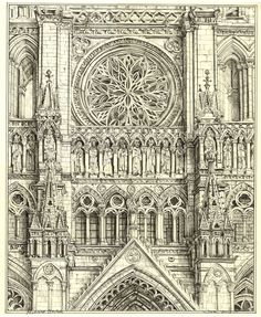 """305. """"The Fourteen Saints"""", Amiens Cathedral, above the portal, 13"""" x 10.625"""", Richard Britell June 2012"""