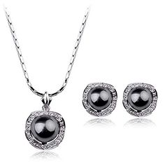 Necklace & Earrings Jewelry Set, Black Pearl, 18K White Gold Plated, Cubic Zircon Wedding Engagement ** To view further for this item, visit the image link.
