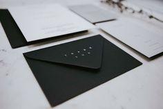Minimal white ink on black envelopes for these gorgeous clients. Black Envelopes, Minimal Wedding, White Ink, Weddingideas, Minimalism, Wedding Invitations, Wedding Inspiration, Bride, Wedding Bride