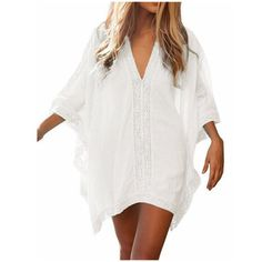Women's Solid Oversized Beach Cover Up (36 RON) ❤ liked on Polyvore featuring swimwear, cover-ups, dresses, white, cover up beachwear, white cover up, white swim cover up, white cover up swimwear and cover up swimwear