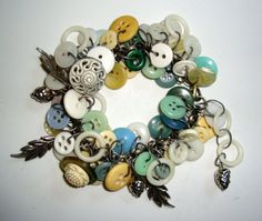 Vintage Button Charm Braclet with Silver Leaves & Pinecone $35.99