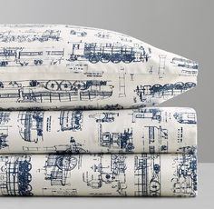 Vintage Train Blueprint Crib Fitted Sheet