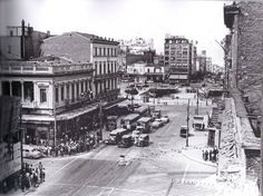 Looking North from the Washington Monument onto Charles Street. The Belvedere Hotel can be seen in the distance. Greece Pictures, Old Pictures, Old Photos, Old Greek, Greek History, City People, Athens Greece, Public Transport, Back In The Day