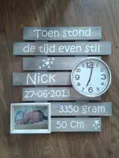 Geboortebord voor mijn zoon, gemaakt door mijn moeder ♥