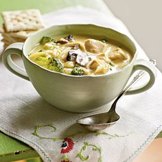 25 Comforting Chicken Soup Recipes | Broccoli and Chicken Noodle Soup | CookingLight.com