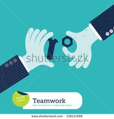 Vector Two Hands With Bolt And Screw. Vector Illustration Eps10 File. Global Colors. Text And Texture In Separate Layers. - 216111286 : Shutterstock