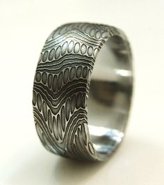 Seamless Stainless Damascus Ring SIZE 812 by Khas9 on Etsy, $225.00