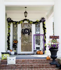 "Feeling the need for a frightening front porch?! We've got just the kid-friendly version to make your guests say ""eek"" and be in awe!"