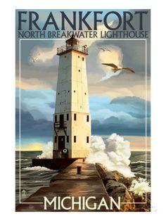 Frankfort Lighthouse, Michigan Kunst van Lantern Press bij AllPosters.nl