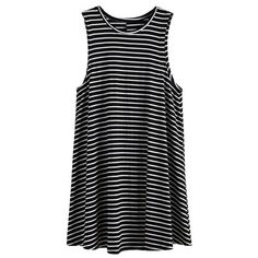 Casual Women Stripe Sleeveless Loose O-neck Mini Dress ($12) ❤ liked on Polyvore featuring dresses, vestidos, tops, sleeved dresses, collared dresses, long-sleeve mini dress, print dress and striped dresses