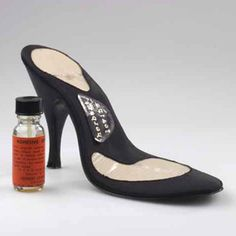 No-Shoe, 1957. This shoe came with a bottle of adhesive. the wearer should brush the liquid on the ball-of-foot and heel surgical pads. This bottle is the only known surviving example. Collection Dutch Leather and Shoe Museum