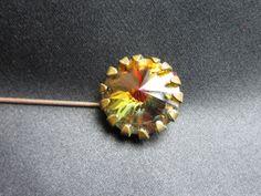 Orange ANTIQUE Victorian Rhinestone Hat Pin