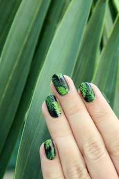 palm tree nail art. Maybe with a white base.