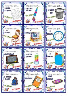 Students play in small groups. The question work is: Have you got. Yes, I have. No, I haven't and they practice the school object vocabulary. English Language Learning, Teaching English, English Lessons, Learn English, List Of Adjectives, Family Tree Worksheet, English Exercises, English Games, School Items